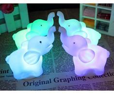 DAYAN LED luz de la noche elefante Lámpara del sueño del niño Cumpleaños decoración de Navidad de la boda color al azar