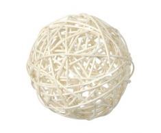 Bolsita de 4 bolas de ratán diámetro 9 cm Color blanco