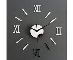 Reloj de Pared de Moda en Forma de Números Romanos Reloj Adonado para Hogar de Color Plateado