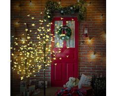 CCLIFE 150cm/180cm/220cm Árbol crezode navidad decoracion led Luces LED Árbol Artificial, 8 Efectos De Luces, Blanco Cálido/Blanco Frio, Color:Blanco Cálido, Tamaño:220cm