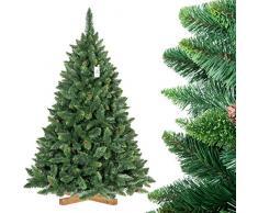 FAIRYTREES Árbol de Navidad artificial modelo PINO, verde natural, material PVC, piñas auténticas, incluye soporte, 180 cm, FT03-180