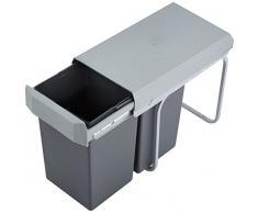 Wesco New Double-Boy - Cubo de basura integrado (2 compartimentos de 15 L), material plástico, Plata/antracita