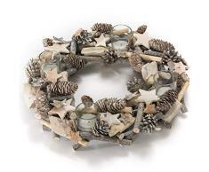 Corona de adviento natural con sostenedores para velas de té piña artificial de abeto/astas/ramas/estrella de madera 38 cm Ø