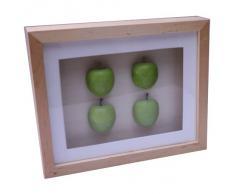 Cuadro con 4 manzanas verdes o rojas. Marco de madera natural Mod.2303 (21,8 x 27 cm)