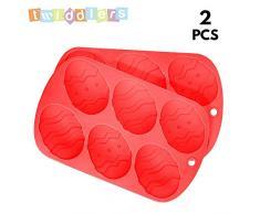 [Paquete de 2] Bandejas de Silicona de Calidad Premium - Huevos de Pascua - Perfecto para Cocinar, Hornear, Cubitos de Hielo, Bizcochos, Caramelos Dulces, Repostería (Red)