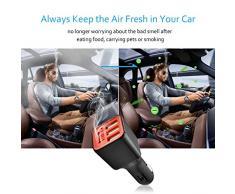 Cargador de coche ionizador ambientador, 3 USB puertos cargador de coche con anión purificador de aire, carga tus dispositivos inteligentes y purificar el aire al mismo tiempo