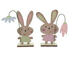 Decoración Conejo de Pascua 4 piezas natural Pastel Conejo 18,5cm Decoración De Pascuas Nido De Pascua Decoración De Ventana Mesa Decorativa Figura Decorativa Conejo