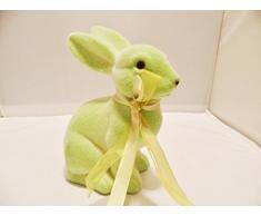 Decoración Figura Conejo Pascua decorativos terciopelo 15 cm, Pastel Grün