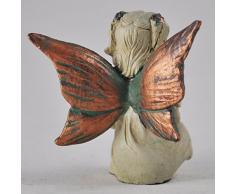 Mini bosque de hada sentada con bola de cristal cobre blanco con alas Escultura Figura decorativa Art Deco niña jardín decoración para el hogar regalo H6 cm