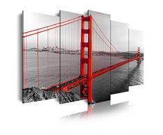 Dekoarte 181 - Cuadro moderno en lienzo 5 piezas XXL ciudad de san francisco puente golden gate , 200x3x100cm