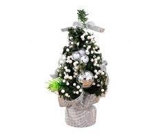 OULII Mini árbol de Navidad Abeto Artificial Decoración de Navidad (Plata)