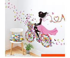 Pegatina de pared vinilo adhesivo decorativo para cuartos, cuartos de juegos,dormitorio,cocina, baño...de chica mariposa y flores etc.. OPEN BUY