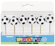 Unique Party- Paquete de 6 velas de cumpleaños con forma de balón de fútbol (71187)