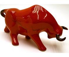 Escultura cerámica de TORO hecho y pintado a mano. Figura decorativa. (Tamaño GRANDE 33 cm x 19 cm x 13 cm) (ROJO SALINO)