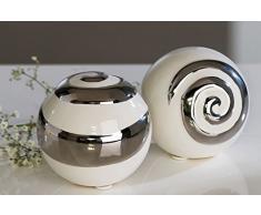 Creole - Juego de 2 bolas decorativas, color blanco y plateado