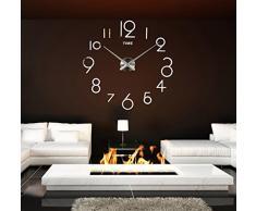 FEITONG Reloj de pared de la sala de estar DIY 3D La decoración del hogar del diseño del arte del espejo grande (Blanco)