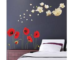 Walplus pared pegatinas Magnolia con de flores de amapolas extraíble adhesivo decorativo para murales nursery restaurante Cafe Hotel Edificio oficina decoración del hogar