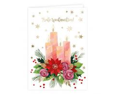Juego de 2 tarjetas de felicitación en Navidad, corona de Adviento, calcetines, neutral, niño, niña, en blanco, tarjeta de Navidad, DIN A6
