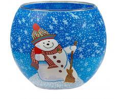 HIM Snowman CC21 - Portavelas candelabros de cristal, 9 x 11 cm, color multicolor