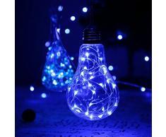 lederTEK Cadena de Luces 30 LED y 3m de de Alambre de Cobre Impermeable con Batería para Utilizarlas en Temas de Decoracion en el Árbol de Navidad o Resaltar Alguna Figura Decorativa Azul