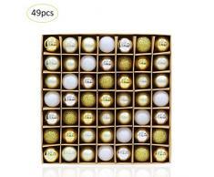 strety - Juego de 49 Bolas de Navidad inastillables de 3 cm para decoración de árbol de Navidad, decoración de Navidad, Adornos para árbol de Navidad, decoración de día Festivo para el hogar