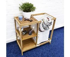 Relaxdays 10018472 - Mueble de baño con cesta para la ropa sucia y 3 estantes
