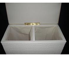 """'Cesto 2 compartimento Compaginador Asiento Taburete de Loom Color Blanco con dos compartimentos fabricado en Alemania """""""