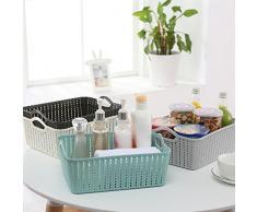 Zhangjing Cocina baño de escritorio de mimbre de ratán de almacenamiento portátil canasta de almacenamiento de la sección alta pequeña azul