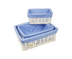 Elitehousewares WoodLuv - Cesta para la ropa con funda de gingham (3 unidades), color blanco y azul