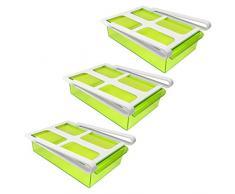 3 x Frigorífico Pinza cajón – Transparente Verde, 15 x 20,5 x 7 cm (Alto), de plástico