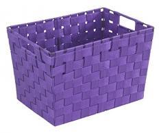 WENKO 19885100 Cesta para el baño y el hogar Adria M Lila - plástico tejido, Plástico - PP, 35 x 20 x 25 cm, Lila