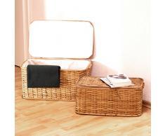 Juego de 2 baúles de Relaxdays; trenzados en ratán, rectangulares, altura x anchura x profundidad:26 x 50 x 29,5 cm. Apilables con forro interior extraíble lavable, aprox. 28 l; fabricados en ratán transpirable y decorativo.,
