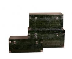 Borras Hnos - Baúl madera polipiel color verde (70x35x35)