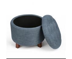 Taburete Silla Sofa de Almacenaje Cesto Cubo Caja para Almacenamiento con Patas de Madera en Color Azul Oxford