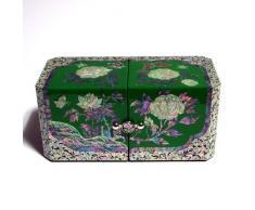 Antique Alive Jewellery Box Joyero con nácar, diseño de peonía/Madera, Lacado, japonés, Color Azul