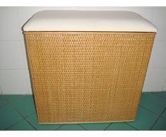 2. Clasificador de lavandería cesta para la colada taburete de ratán, miel con dos compartimentos, fabricado en Alemania