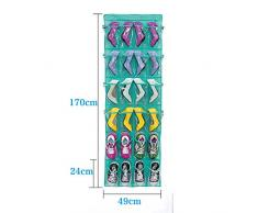 Colgante armario de zapatos la puerta bolso colgante con 24 bolsillos (blanco)