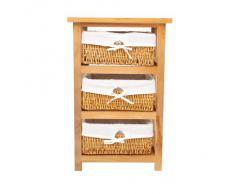 Premier Housewares - Cajonera de Madera con 3 cestos de Mimbre (63 x 40 x 32 cm), Color marrón