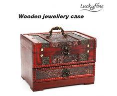 Luckyfine Caja de Joyas de Madera con Espejo Organizador de Joyas de Madera, Estuche de Joyas, Almacenamiento de Anillos, Pulseras, Collares San Valentín