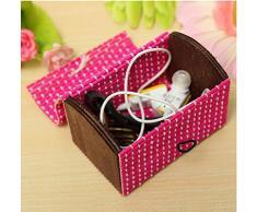 Hecho a mano pequeño Mini cuadrado Joyero joyas caja de almacenamiento de madera de bambú organizador soporte para viajes y casa
