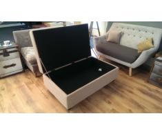 My-Furniture – LEON – Puf doble con arcón, grande de color beige, tapizado, plegable, con espacio de almacenamiento, tipo escabel - baúl