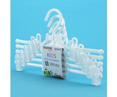 Hangerworld - Perchas De Plástico Blanco Con Pinzas Para Ropa Infantil, 30 cm, 5 Unidades