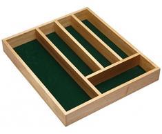 Kitchen Craft KCCUTLERYWD - Organizador de cubiertos en madera (5 compartimentos, 36 x 31 x 5 cm)