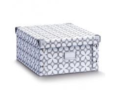 Zeller 17897 Caja de almacenaje de cartón Multicolor (Retro White) 31 x 26 x 14 cm