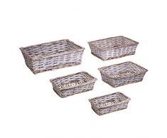 EHC Woodluv - Juego de 5 cestas rectangulares de Mimbre para Almacenamiento, Color Gris