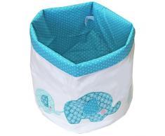 Just Contempo - Cesta infantil con diseño de elefantes, 32 x 32 cm, tela, azul, 32 x 32 cm
