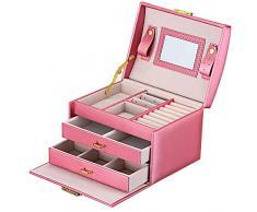 DCCN Jewellery Box Estuche De CosméTicos Caja De Almacenamiento De JoyeríA De Cuero De Pu De Tres Capas Con Espejo Y Cerradura, Regalo Para NiñAs O Mujeres (Rosa)