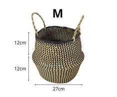 Surenhap Seagrass Cesta de cesteria de Mimbre Canasta de lavandería Canasta de Mimbre Plegable Canasta para Almacenamiento de Estilo nórdico Belly Basket - Tira,M