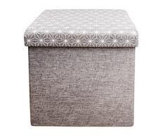 The Home Deco Factory HD3166 - Puf de almacenamiento plegable de lino, color gris M4, de 37,5 x 37,5 x 37,5 cm