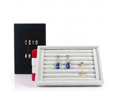Chytaii expositor Joyero terciopelo bandeja para anillos sin tapa soporte de pendientes de joyas caja joyero organizador almacenamiento de anillos